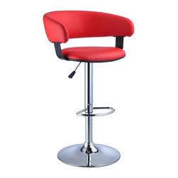 """Powell - Faux Leather Adjustable Height Bar Stool in Red - The Barrel Back Bar Stool is all about style and comfort. A luxurious plush seat is upholstered in a rich red faux leather, while a plush curved seat back provides added comfort. Finished with a versatile chrome, this piece is an easy addition to any kitchen, bar or dining area. Features: -Red faux leather seat. -Chrome frame. -Stylish and functional. -Height adjustable seat with gas lift. -BIFMA 5.1 and EN1335 standard testing passed and approved. Dimensions: -Seat height: 22"""" - 31.5"""", 26 lbs. -34.63""""-41"""" H x 22.5"""" W x 19.63"""" D, 26 lbs. -Weight capacity: 300 lbs."""