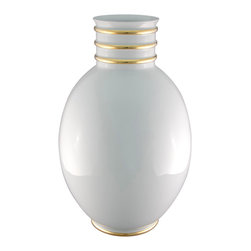 Maison Alma - Arienne Egg Vase, White & 24k Gold - This graceful porcelain vase was handcrafted in Portugal in the traditional Limoges style. The lustrous glaze is accented by bands of 24-karat gold or platinum at the throat and base, adding an extra touch of luxury.
