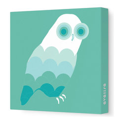 "Avalisa - Animal - Owl Stretched Wall Art, 28"" x 28"", Sea Green - Bird up! The ever-popular owl as you've never seen it before, with scallop-motif feathers and concentric circle eyes. Hang this sleek, stretched wall art in a child's bedroom or play area for a sense of wisdom with whimsy."