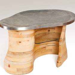 Contours - Stacked wood coffee table with glass shelves nestled inside and a concrete top and stainless steel border.