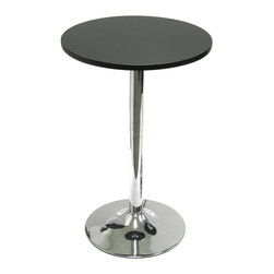 "Winsome Wood - Winsome Wood Spectrum Spectrum 20"" Round Bistro / Tea Table with Metal Leg X-917 - 20"" Tea/snack table pairs nicely with our S/2 swivel chairs (item 93220) to make a comfy spot to sit and have drinks or coffee and a chat.  Made of durable MDF material the table top is finished in matte black and has a chrome color leg."