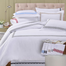 None - Kendell Cotton 3-piece Duvet Cover Set - Bring a touch of the Mediterranean with the Kendell duvet cover set made of 100-percent cotton. Featuring a Greek bordered design available in a variety of colors,this exquisite set is machine washable for easy care.