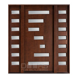 Modern Collection (Custom Solid Wood Doors) - Custom Front Entry Door -  Single with 2 Sidelites - Modern Collection - Doors For Builders Inc.