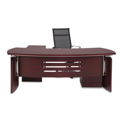 "Zuri Furniture - Harrison Desk with Return and Cabinet - This spacious, art deco inspired desk provides an extensive work space designed to help you get down to business. The Harrison executive desk is ultra modern, built with curved base, cut out details and polished metal hardware. This rich cherry wood grain finish speaks ""sophistication"". A 2-drawer secure, lockable rolling return completes the set.  Width: 82"" Height: 30""  Depth: 35""  Rolling Filing Cabinet: 26"" High x 16"" Wide x 20"" Deep Desktop Thickness: 2"""