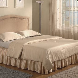 Nailhead Trim Design Queen Size Tan Microfiber Headboard