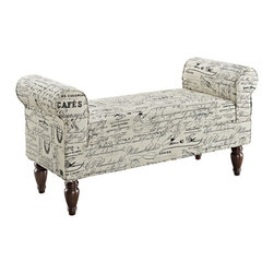 Linon Home Decor - Linon Home Decor Benche X-U-DK-10-NIL03063 - The Lillian Bench is ideal for providing seating to any bedroom, living room or entry area. Upholstered in a linen printed fabric, the bench has dark mahogany finished feet. The straight lined frame is accented by rolled sides adding a bit of classic styling to the piece.