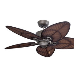 Emerson - Emerson Batalie Breeze Ceiling Fan in Vintage Steel - Emerson Batalie Breeze Model EM-CF621VS in Vintage Steel with ABS Weather Resistant Antique Stain Wicker Leaf Finished Blades.