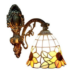 ParrotUncle - Stained Glass Sunflower Tiffany Wall Sconces 1 Light - Stained Glass Sunflower Tiffany Wall Sconces 1 Light