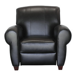 Saddleworks - Payton Leather Recliner - Recline in style with our Payton Leather Recliner.  Top quality reclining mechanism and high grade black leather.