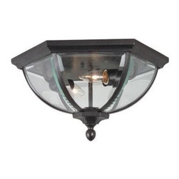 Craftmade - Britannia Style Outdoor Flush Mount Light - Bulb Type: A-Type. Max Watt: 2x60W. Glass Finish: Clear Beveled. Height: 8.0 in.. Width: 15.0 in.. Type of Fixture: Flushmount