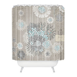 Iveta Abolina French Blue Shower Curtain - Add a touch of Gallic charm to your bath. Playful posies are superimposed over an old Parisian print — a jubilant pairing that's certain to delight. It's made of machine-washable polyester, so it will keep looking fresh, shower after shower.