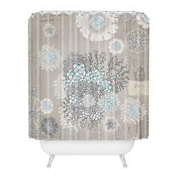 DENY Designs - Iveta Abolina French Blue Shower Curtain - Add a touch of Gallic charm to your bath. Playful posies are superimposed over an old Parisian print — a jubilant pairing that's certain to delight. It's made of machine-washable polyester, so it will keep looking fresh, shower after shower.