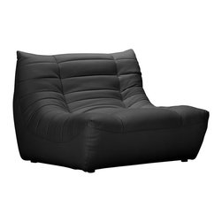 ZUO - ZUO Carnival Modern Leatherette Single Seat in Black - Like a big bear hug, snuggling up in this leatherette seat is both comforting and comfortable. The padded and tufted sectional comes in espresso, black and white, so grab a foamy latte and enjoy the plushness and relaxation this chair promotes.