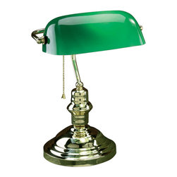 Lite Source - Lite Source LS-224PB Banker 1 Light Desk Lamps in Polished Brass - Bankers Lamp, Pb, Green Glass Shade, E27 Cfl 13W