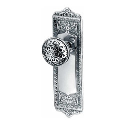 Renovators Supply - Door Knobs Chrome Door Knob 2 3/8'' Privacy Set | 95518 - Add a victorian look to your home with this Star and Florentine Privacy set. This is Chrome over solid Brass. Has 2 3/8 in. backset.