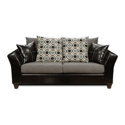 Chelsea Home Furniture - Chelsea Home Holly Sofa in Denver Black/Flat Suede Graphite/San Francisco Bluebe - Holly Sofa in Denver Black/ Flat Suede Graphite/ San Francisco blueberry belongs to Liberty collection by Chelsea Home Furniture.