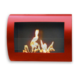 "Anywhere Fireplace - Chelsea Wall Mount Ethanol Fireplace, Red - Dimensions: 28"" L x 19"" W x 5.5"" H"