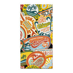 California Vintage Surf Stickers Bath Towel - Our Bath/Beach Towels are made of a super soft poly fiber fabric with 2mm pile.
