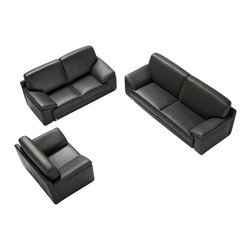 VIG Furniture - Tonga Full Black Top Grain Italian Leather 3 Piece Sofa Set - The Tonga sofa set is a great addition for any modern themed living room decor. This sofa set comes fully upholstered in a beautiful black top grain Italian leather. High density foam is placed within the cushions for added comfort. Only solid wood products were used when crafting the frames making the sofa set very durable.