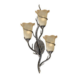 Vaxcel - Monterey Autumn Patina Three-Light Wall Light - -Umber Mist Glass   -UL Rated for Damp Locations      -Bulb Not Included Vaxcel - MY-WLU003AA