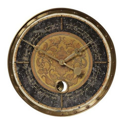 Timeworks By Uttermost - Leonardo Black Script Clock - Creatively designed the Leonardo Black Script is crafted with a weathered, laminated clock face beautiful cast brass outer rim, brass center components and  a working internal pendulum. Italian Script is written around the clock face.