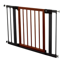 "Munchkin - Wood & Steel Designer Safety Gate - The Wood & Steel Designer Safety Gate is an aesthetically pleasing gate that works well in modern homes. With all the beauty of wood and the resilience of steel, it measures 29.5in height and is fully adjustable from 29.5"" to 40"" width. Use to block off stairs, doors, or hallways that are not appropriate for little ones. 21.5"" wide door offers plenty of room for Mom and Dad as they navigate through the home, and adds convenience while swinging in both directions. Adult friendly and kid proof, the gate can be secured with a single hand. Need even more security? Activate another lock at the bottom of the unit for added protection. Tension mounting or permanent mounting options with wood screws made to work with traditional wood frames. Additional hardware available for mounting to other surfaces. A trip of extensions are available to help parents protect wider spaces from curious tots. Easy installation with or without hardware Handsome wood and steel design Wide door for adult convenience. Meets or exceeds all JPMA safety guidelines."
