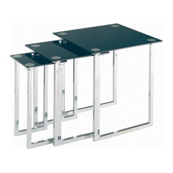 Lite Source - Lite Source Dane Nesting Table X-KLB/C0516-KDL - From the Dane Collection, this Lite Source nesting table set features three individual tables at varied sizes. The stark angles and corners are accentuated by a classic Chrome finish. These contemporary tables also feature black tempered glass tops, adding to their appeal.