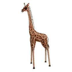 "Benzara - Metal Giraffe - If you are looking for low cost but rare to find elsewhere decor item to refresh the decor appeal of short spaces in your house and office, beautifully carved 74998 METAL GIRAFFE is one such floor mounted decorative item. It can be used as garden decoration also.; Material: Rust free premium grade metal alloy; Color: Brown G��black; Portable garden decor; Beautifully designed; Can be used anywhere-inside outside; Easy to clean; Dimensions: 91""H x 42""W"