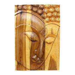 Kammika - Buddha Panel Ushnisha Sust Wood 20 x 30 inch H in Livos Eco Friendly Oak Oil - This inspiring Buddha Panel Ushnisha 20 inch length x 30 inch height x approximately 4 inch thickness, including the approximately 2 inch protruding nose, Sustainable Monkey Pod Wood in Eco Friendly, Natural Livos Oak Oil Finish Wall Panel presents Ushnisha, a three dimensional oval at the top of the head of the Buddha. It symbolizes his wisdom and openness as an enlightened being. The first representations of the Buddha in the 1st century represent him with a topknot, rather than a cranial knob. Discover the effect of Buddha in the stage of achieving knowledge, Ushnisha, when you display this panel. This panel has been carved from joined panels. The panel has two embedded flush mount Keyhole hangers on the topmost securing crossbar on the back for a protruding screw from your wall. Carved by craftspeople in Thailand, who spend hours carving these wonders of wood, and made of Monkey Pod wood grown for the woodcarving industry, each piece is a unique creation. Livos Oak tone oil creates a water resistant and food safe matte finish; the natural oils are translucent, so the wood grain detail is highlighted. The light and dark portions of wood turn to darker shades of brown over time and the alkaline in the oils creates a honey orange color. We make minimal use of electric hand sanders in the finishing process. Panels are dried in solar or propane kilns. No chemicals are used in the process, ever. After each piece is carved, dried, sanded, and rubbed with Livos oil, they are packaged with cartons from recycled cardboard with no plastic or other fillers. The color and grain of your piece of Nature will be unique, and may include small checks or cracks that occur when the wood is dried. Sizes are approximate. Products could have visible marks from tools used, patches from small repairs, knot holes, natural inclusions or holes. There may be various separations or cracks on your piece when it arrives. There may be some slight variation in size, color, texture, and finish.  Only listed product included.
