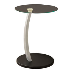 Monarch Specialties - Monarch Specialties 18 Inch Round Bentwood Accent Table with Tempered Glass - What a convenient way to eat or drink on your couch! This beautiful black and silver bentwood accent table is has sufficient space for you to place your snacks, drinks and even meals. Its original curved metal base and tempered glass top provides sturdy support along with a undeniable look that will suit any decor. What's included: Accent Table (1).