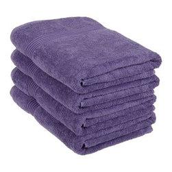 Superior Egyptian Cotton 4-Piece Royal Purple Bath Towel Set - Superior 600GSM 4-Piece Royal Purple Bath Towel Set