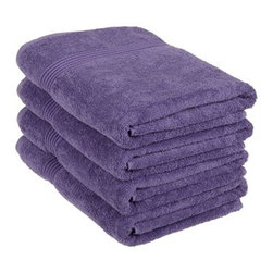 Superior Egyptian Cotton 4-Piece Royal Purple Bath Towel Set - Superior 600GSM 4-Piece Royal Purple Bath Towel Set