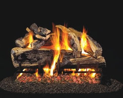 Real Fyre Charred Rugged Split Oak Vented Gas Log Set - With the Real Fyre Charred Rugged Split Oak Vented Gas Log Set you don't have to be rugged to enjoy a good campfire. In fact you don't even have to go camping. The Burnt Split Oak log set gives you all the natural beauty and cozy feel of a campfire without any of the work. This set of molded-ceramic logs provides a reliable medium for designing and casting lifelike definition in the logs capturing the look of natural textures and colors. And the silica sand and platinum embers add an extra touch of believability. And unlike real logs these don't create an ashy mess or require constant trips out in the cold to replenish your supply. Their refractory-ceramic construction along with their steel-rod inserts ensures the maximum strength of these logs even at high temperatures. Even after the burner has been turned off the ceramic logs continue to produce radiant heat helping you to save on energy while maintaining that cozy atmosphere. With three sizes available one is sure to fit your fireplace perfectly. Minimum fireplace sizes: 18-inch insert: 30W x 14D in. 24-inch insert: 34W x 14D in. 30-inch insert: 40W x 14D in. Note: It is recommended that you use a professional installer to ensure the safety of the exhaust system. A licensed contractor should be contacted for installation of all products involving gas lines. About Real FyreReal Fyre understands more about the amazing things that happen when flame and good food meet. For the last 70 years they've set out to create the singularly best way to cook food outdoors using the highest-quality materials innovative design and an absolutely relentless pursuit of perfection. With a complete line of luxury-grade grills burners accessories and built-in grill island components Real Fyre is ready to turn your home into the world's best outdoor kitchen.