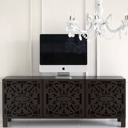 lace cut console - The modern blocky shape contrasted with the intricately lace cut pattern on the front keep things interesting on this low console table. Perfect for media storage and your plasma t.v.
