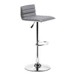 ZUO MODERN - Equation Barstool Gray - Sleek and sexy, the Equation Barstool completes any modern space. It has a leatherette seat and chrome height adjustable swivel base.