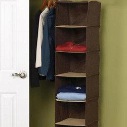 Home Decorators Collection - 6-Shelf Organizer - Whether for sweaters, seasonal clothing or even your day-to-day necessities, you will love having the extra storage space this piece provides. With two strong hooks to hang from any closet rod or wire shelving, this organizer offers six spacious compartments to help keep your closet space neat and tidy. Complete your closet organization today; order now. Crafted of a durable cotton blend for years of lasting use. Shelves supported with plastic for added strength.