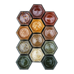 Gneiss Spice - DIY Magnetic Spice Rack With 12 Empty Glass Jars, Silver Lids - -:- 12 large hexagon magnetic jars for fridge