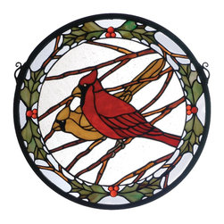 Meyda Tiffany - Meyda Tiffany Round Cardinals & Holly Window X-98256 - From the Cardinals & Holly Collection, this Meyda Tiffany round window features trim with holly leaves and berries. The male and female cardinal mates are perched on branches, seeming to be watching, waiting patiently. A clean backdrop and earthy brown branches complete the look.