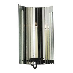 """Joshua Marshal - Black 17.25"""" Cosmo Mirrored Candleholder - Black 17.25"""" Cosmo Mirrored Candleholder"""