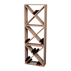 Wine Cellar Innovations - Traditional Series Solid Diamond Cube-132 bottles - The Redwood & Pine Solid Diamond Cube Wine Rack is 1 column wide x 3 cubes high. Each cube bin has 4 quadrants holding 10 wine bottles for a total of 40 bottles stored per quadrant. With a wine case stored on top, this wine rack holds 132 bottles. Assembly required.