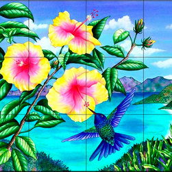 The Tile Mural Store (USA) - Tile Mural - Local Color  - Kitchen Backsplash Ideas - This beautiful artwork by Carolyn Steele has been digitally reproduced for tiles and depicts a tropical humminbird scene.  A hummingbird tile mural would be perfect as a part of your kitchen backsplash tile project or your tub and shower surround bathroom tile project. Hummingbird images on tile make a great kitchen backsplash idea and are excellent to use in the bathroom too for your shower tile project. Consider a tile mural with hummingbirds for any room in your home.