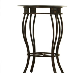 Boraam - Round Steel Pub Table in Dark Walnut Finish ( - Choose Height: 36 in. HSteel construction. Features decorative multi colored genuine slate insets. Beveled edge top. Flared legs for stability. Floor protecting feet can be height adjusted. Assembly required . 36 in. L x 36 in. W x 42 in. H (52 lbs.)