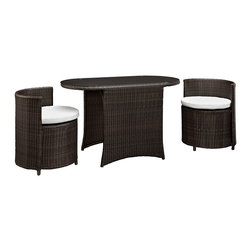 Modway - Modway EEI-1060 Katonti 3 Piece Dining Set in Brown White - Katonti's intimate dimensions reveal an outdoor patio set with an inner world of opportunity. Perfect for use in a private setting, or outdoor seating for a trendy restaurant; Katonti exudes boundless chances for myriad conversations and animated debates. Whether a business meeting with a treasured client or a last minute lunch with a friend, pull up the cylindrical shaped chairs and celebrate success around the elliptic tempered glass top table.