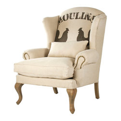 "Zacharie ""Moulins"" French Country Nail Head Club Chair - Classic lines and a whimsical, slightly casual pattern are combined masterfully into this monotone club chair which bears all the hallmarks of a slightly urban, yet rustic take of Provencal style. City lofts, country homes, and more will all find the ""Moulins"" a welcome addition."