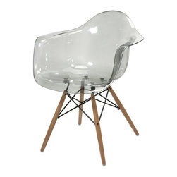 iMax - iMax Beckett Grey Transparent Chair w/ Wood Leg X-42598 - Featuring a modern and funky design concept, this trend-setting stylish chair incorporates a cutting edge grey transparent acrylic design with wood legs that transitions well in a variety of dŽcor.