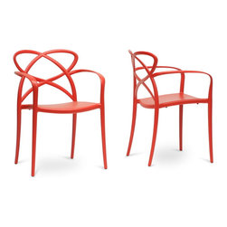 "Wholesale Interiors - Huxx Red Plastic Stackable Modern Dining Chairs, Set of 2 - Spirited and peppy, the Huxx Contemporary Dining Chair has quite the personality. This fun designer dining chair brightens up a room with red molded plastic construction featuring non-marking feet. Made in China, the Huxx Dining Chair is stackable and comes fully assembled. To clean, wipe with a damp cloth. The Huxx Chair is also available in orange (sold separately). Dimension: 22.375""W x 21.5""D x 32.25""H , seat dimension: 18""W x 18""D x 18""H."