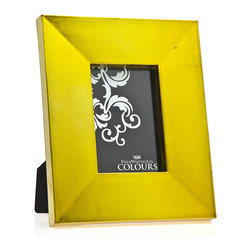 "Philip Whitney - Metallic Chartreuse Color Frame, 4""x6"" - Bring a pop of bright color to your desk or bookshelves using the 4-by-6 inch Metallic Chartreuse Color Frame. The frame's metallic sheen gives it a sleek, bold look that pairs well with contemporary decor. Display it among neutral design elements for a dramatic contrast."