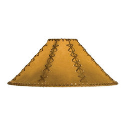 Meyda Tiffany - Hexagon Replacement Shade - Includes spider for use on a small lamp. Trimmed with leather like lacings. White fabric lining for added light reflection. Made from faux leather. Tan color. 18 in. W x 10 in. H
