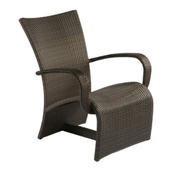 Frontgate - Halo Outdoor Lounge Chair - Ideal for any environment, including oceanfront and saltwater destinations. Double-woven panels of high-quality resin wicker resist sagging and fading. Durable, powder-coated aluminum frames. Black walnut finish remains rich and true to the changing seasons. Halo Collection by Summer Classics&reg is comfortable without cushions. Curvilinear and lyrical the Halo Collection by Summer Classics&reg makes a heavenly statement in your al fresco setting. Generously proportioned frames, superbly woven with high-quality resin wicker, provide comfort without the need of cushions. Relax and enjoy in any outdoor setting, including beach and salt water environments. .  . .  .  .