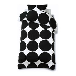 Marimekko Kivet Duvet Cover - This iconic Marimekko pattern has been around for decades and it's jut as popular today as it was when it was first designed. Add a big gold pattern to your bed with this black and white version.